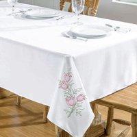 Toalha De Mesa Primavera 1,40X1,40 Branco/Pink