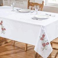 Toalha De Mesa Primavera 2,20X1,40 Branco/Vermelho