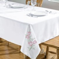 Toalha De Mesa Primavera 2,50X1,40 Branco/Pink