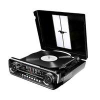 Toca-Disco Vinil Mustang ION c/ rádio, USB, Entrada Auxiliar e Conversão Digital  MUSTANGLP Preta