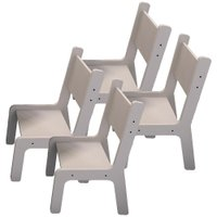 Kit 04 Cadeiras Estudo Infantil Kids Branco - Lyam Decor