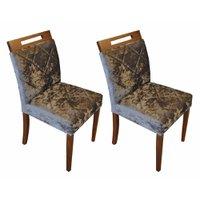 Conjunto 2 Cadeiras de Jantar Poloux Tecido Prata Fino Moveis