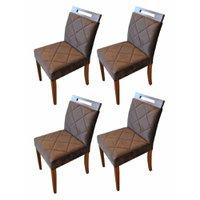 Conjunto 4 Cadeiras de Jantar Poloux Tecido Marrom Fino Moveis