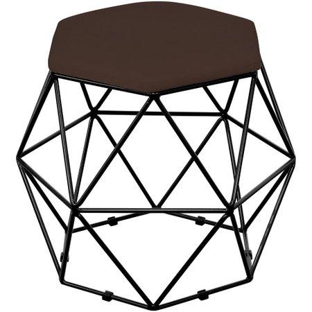 Kit 02 Puffs Decorativo Aramado Preto Six Suede Marrom - Lyam Decor