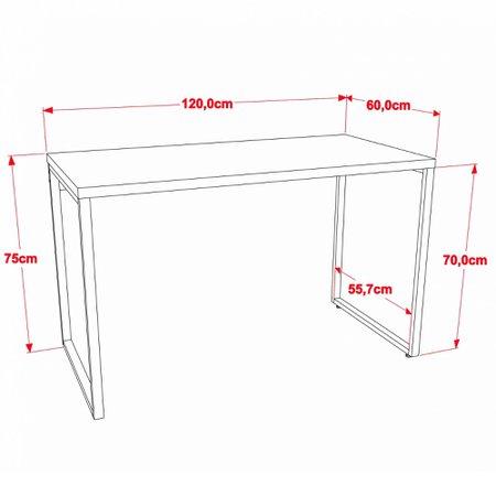 Kit Mesa Para Escritório com Estante Office Estilo Industrial Form 120 cm Preto Onix - Lyam Decor