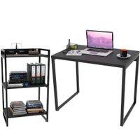 Kit Mesa Para Escritório com Estante Office Estilo Industrial Form 90 cm Preto Onix - Lyam Decor