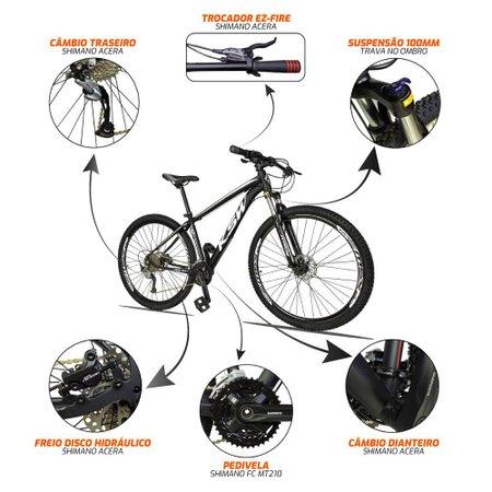 Bicicleta XLT 2.0 Aro 29 Quadro 17 Freio Disco Hidráulico Alumínio 27v Preto Branco - KSW