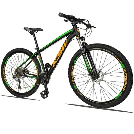 Bicicleta XLT 2.0 Aro 29 Quadro 19 Freio Disco Hidráulico Alumínio 27v Preto Verde Laranja - KSW