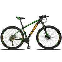 Bicicleta XLT 2.0 Aro 29 Quadro 21 Freio Disco Hidráulico Alumínio 27v Preto Verde Laranja - KSW
