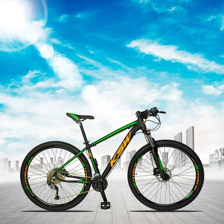Bicicleta XLT 2.0 Aro 29 Quadro 17 Freio Disco Hidráulico Alumínio 27v Preto Verde Laranja - KSW