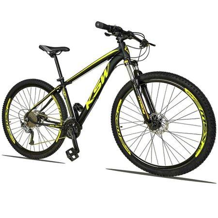 Bicicleta XLT 2.0 Aro 29 Quadro 15 Freio Disco Hidráulico Alumínio 27v Preto Amarelo - KSW