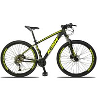 Bicicleta XLT 2.0 Aro 29 Quadro 19 Freio Disco Hidráulico Alumínio 27v Preto Amarelo - KSW