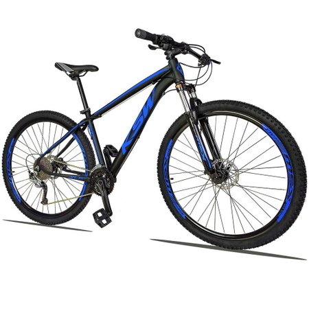 Bicicleta XLT 2.0 Aro 29 Quadro 19 Freio Disco Hidráulico Alumínio 27v Preto Azul - KSW