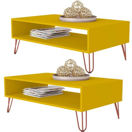 Kit 02 Mesas De Centro Decorativa Lara Amarelo Pés Aramado Bronze  - Lyam Decor