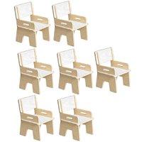 Kit 07 Cadeiras Infantil Ternura de Encaixe Branco - Oficina Pelegrino
