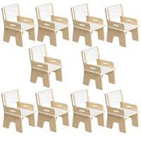 Kit 10 Cadeiras Infantil Ternura de Encaixe Branco - Oficina Pelegrino