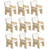 Kit 09 Cadeiras Infantil Ternura de Encaixe Branco - Oficina Pelegrino