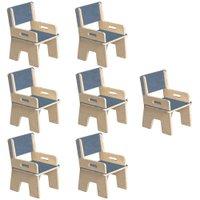 Kit 07 Cadeiras Infantil Ternura de Encaixe Azul - Oficina Pelegrino