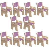 Kit 10 Cadeiras Infantil Ternura de Encaixe Lilás - Oficina Pelegrino
