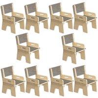 Kit 10 Cadeiras Infantil Ternura de Encaixe Cinza - Oficina Pelegrino