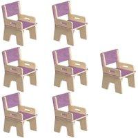 Kit 07 Cadeiras Infantil Ternura de Encaixe Lilás- Oficina Pelegrino