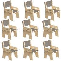Kit 09 Cadeiras Infantil Ternura de Encaixe Cinza - Oficina Pelegrino