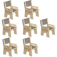 Kit 07 Cadeiras Infantil Ternura de Encaixe Cinza - Oficina Pelegrino