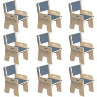 Kit 09 Cadeiras Infantil Ternura de Encaixe Azul - Oficina Pelegrino