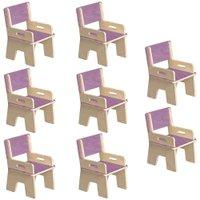 Kit 08 Cadeiras Infantil Ternura de Encaixe Lilás - Oficina Pelegrino