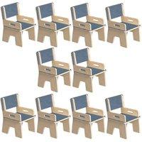 Kit 10 Cadeiras Infantil Ternura de Encaixe Azul - Oficina Pelegrino