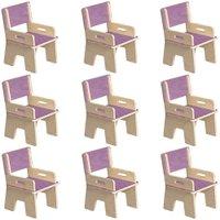 Kit 09 Cadeiras Infantil Ternura de Encaixe Lilás - Oficina Pelegrino