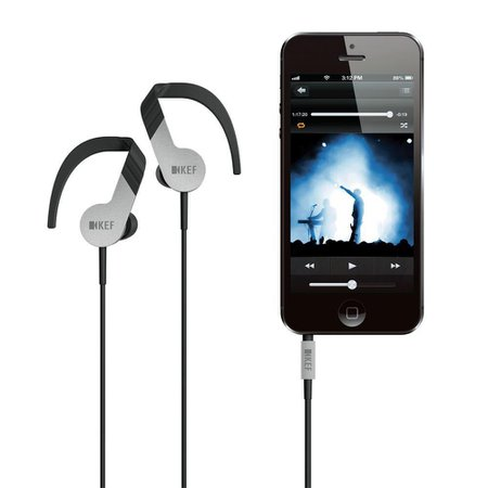 KEF M200 Earphone - Fone de ouvido Hi-Fi com Microfone e controle no cabo Preto/Prata