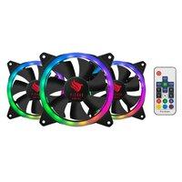 Kit Ventoinha Pichau Gaming Feather Dual Ring RGB 3x120mm c/ Controle, PGFEA-RGB
