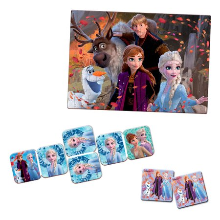 Kit Frozen 2 Quebra-Cabeça, Dominó Jogo da Memória - Toyster