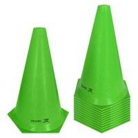 Cone de Marcação de Plástico Flexível - 24cm - Kit com 12 - Verde - Muvin