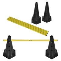 Kit Barreiras de Salto com Cone - 50cm - 6 unidades - Preto/Amarelo - Muvin