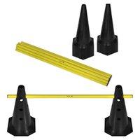 Kit Barreiras de Salto com Cone - 50cm - 12 unidades - Preto/Amarelo - Muvin