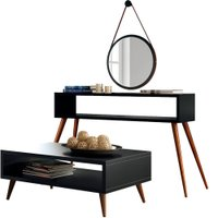 Kit Aparador e Mesa de Centro Lara Preto Pés Palito com Espelho Adnet 67 cm Nix - Lyam Decor