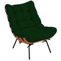 Poltrona Decorativa Sala de Estar Costela Suede Verde Musgo - Lyam Decor
