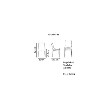 Cadeira Tramontina Alice Polida em Polipropileno Azul Turmalina