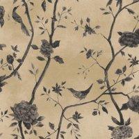 Papel de Parede Natural Bege, Cinza Pássaros1443 Bobinex