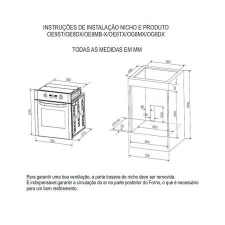 Forno Elétrico de Embutir Electrolux Grill Timer OE8DX 80 Litros Inox 53801HBA289