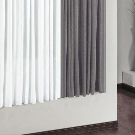 Cortina Riviera 3,00m x 2,80m para Varão Simples Cinza/Branco