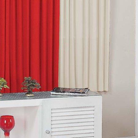Cortina Jade 3,00m x 2,80m para Varão Simples Vermelho/Palha