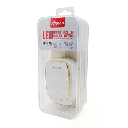 Carregador de Parede para Celular 3 Portas USB 3.4A Bivolt com Lâmpada Touch LED Xtrad A1016
