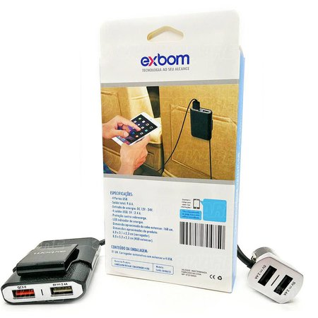 Carregador Veicular com Extensor para Banco Traseiro 4 USB 48W QC 3.0 Carga Rápido Cabo de 160 cm