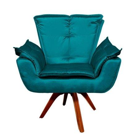 Poltrona Decorativa Giratória Gran Opala Base Madeira Acetinado -Azul / D'Rossi