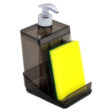 Dispenser Detergente Translúcido - 500ml Porta Esponja  Desmontável -  Fumê