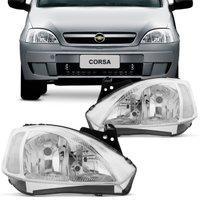 Farol Corsa Hatch Sedan Montana 2003 2004 2005 2006 2007 2008 2009 e 2010 Máscara Cromada