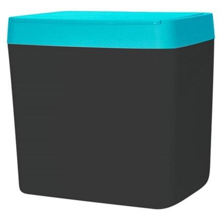 Lixeira Para Pia 5 Litros - Chumbo/Azul Turquesa